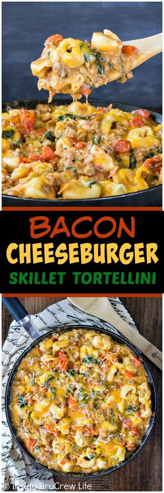 Bacon Cheeseburger Skillet Tortellini - this quick and easy pasta dinner is loaded with meats, veggies, and cheese. Great 30 minute dinner recipe for busy nights! #dinner #bacon #pasta #30minutemeal #porkcheckoff #realpigfarming #ad