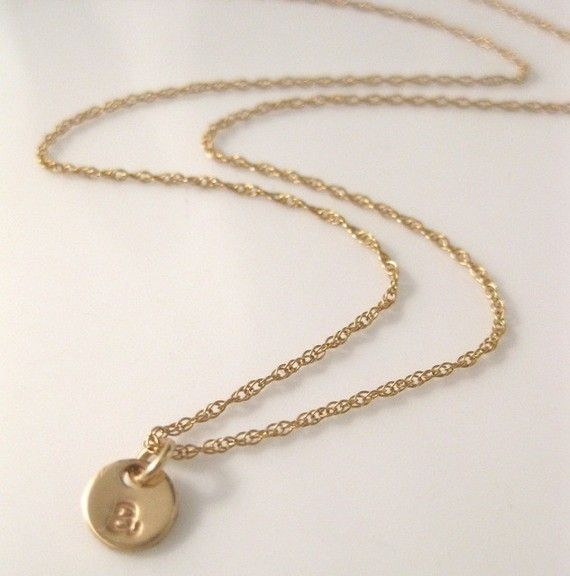 Tiny Gold Charm Necklace  Initial Droplet in by onelifejewelry, $35.00
