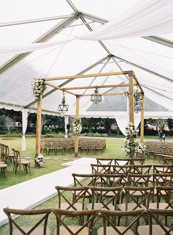 Rustic + modern tented wedding decor:  http://www.stylemepretty.com/south-carolina-weddings/charleston/2016/03/04/elegant-southern-winter-wedding-at-lowndes-grove/ | Photography: Virgil Bunao - http://virgilbunao.com/