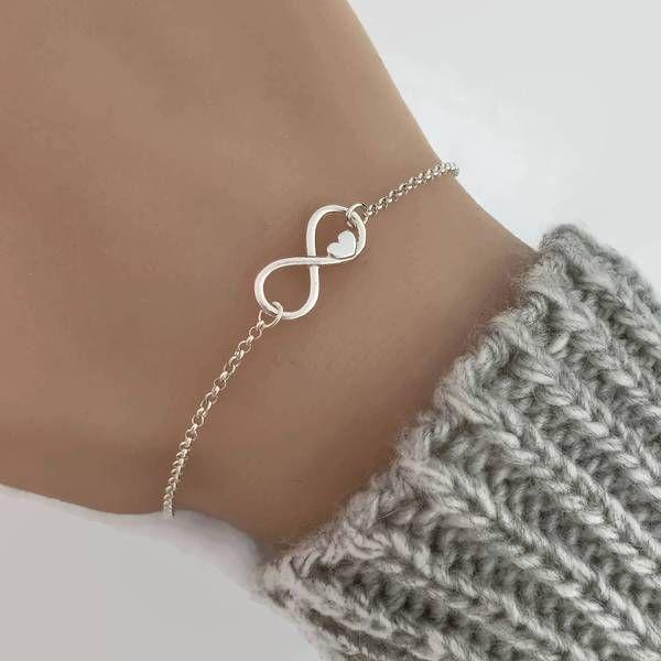 Sterling Silver Infinity Heart Bracelet, Sterling Silver Bracelet, Friendship Bracelet, Infinity bracelet, Bridesmaid gifts – JewelleryByZM