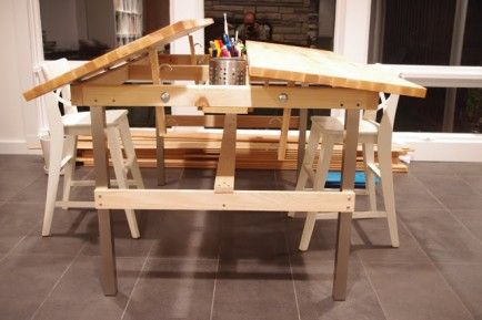 The table tops & legs are from Ikea. (Vika) http://designerscondition.blogspot.com/2012/10/multi-kid-drafting-table.html