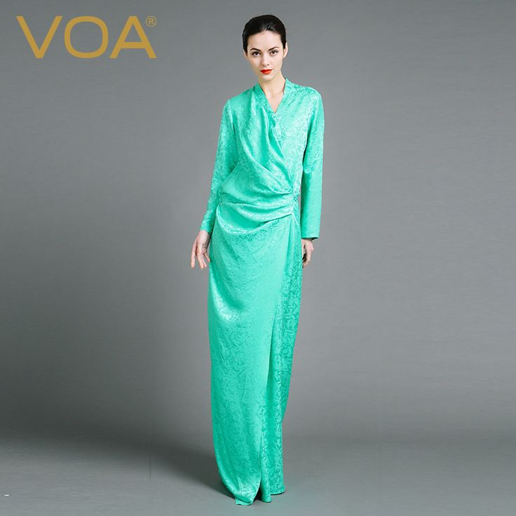 Find More Robes Information about VOA autumn light green minimalist temperament long silk jacquard robe slender drape floor length pajamas female N6878,High Quality pajamas satin,China pajama Suppliers, Cheap pajama silk from VOA Flagship Shop on Aliexpress.com
