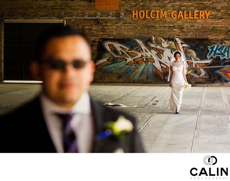 Photography by Calin - Evergreen Brick Works Wedding First Look:  Did I mention how much I love the first looks during Evergreen Brick Works weddings? To start with, I love first looks. They are excellent opportunities to document the genuine emotions of the bride and groom. In my travels as &nbsp,a Toronto wedding photographer, I have seen both brides and grooms cry during their first look. However, interestingly enough, it is usually the grooms who are more emotional during the unveiling…