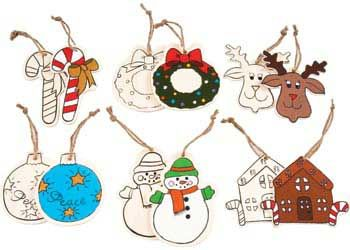 Christmas Wooden Ornaments Assorted Pack of 12. These wooden ornaments come with a drawn design so makes colouring in more fun.