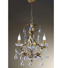 Settecento Design 3 Light Chandelier with Gold Leaf Frame