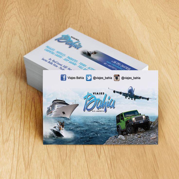 Tarjetas de presentación para Viajes Bahia  impresión por Ambros Imprenta Digital y Estudio de Diseño