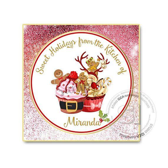 Printable Custom Christmas Cupcakes  Square or Circle