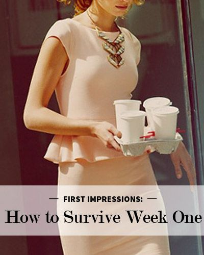First Impressions: How to Survive Week One   It's your first day of work. You stroll in looking your best with the whole world in front of you. Your first week is going to be overwhelming—you will meet too many people, learn about new responsibilities, and feel like it can't possibly only be 10 a.m. Don't worry—you've got this. Here are some tips to make the most of your first week.