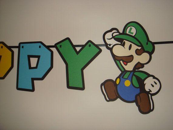 bannière de décoration Mario joyeux anniversaire par CutesyShelf