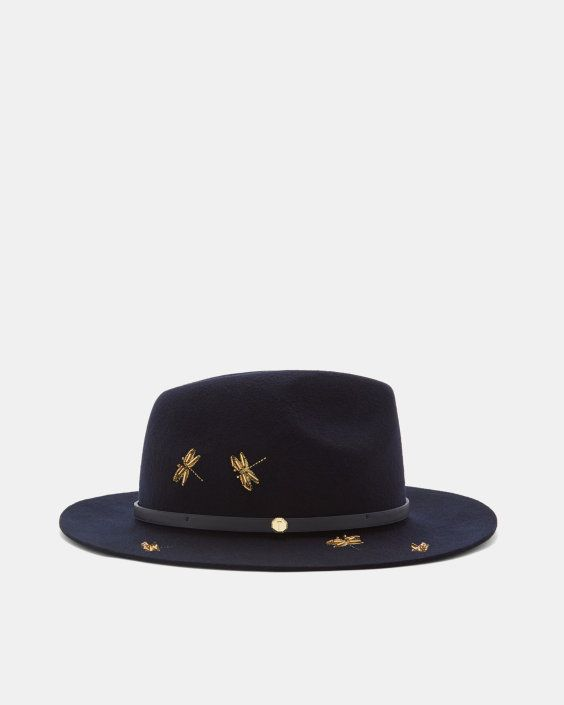 cac212252ba5d Dragonfly embellished fedora hat - Dark Blue