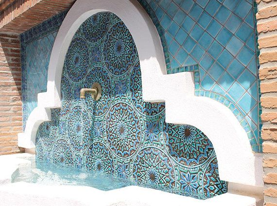 Bathroom Wall Decor Ceramic Tile Moroccan Decor Moroccan Etsy Ceramic Wall Art Outdoor Wall Art Handmade Tiles