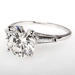 Vintage 2 Carat Diamond Engagement RIng w/ Tapered Baguettes Platinum