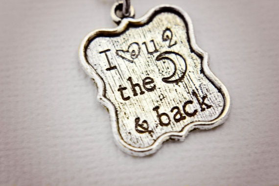 I love you to the moon and back hand stamped tibetan silver necklace by StampedMemoriesbyMel, $20.50