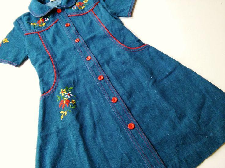Vintage Kinderkleidung - 116/122 Keid JeansKleid 70er VinTagE hipSter retro - ein Designerstück von LIEBKIND-bremen bei DaWanda