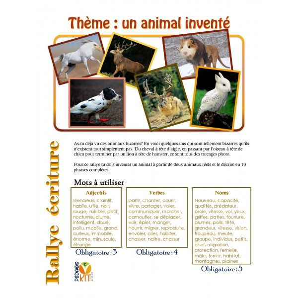 Français Rallye écriture animal inventé