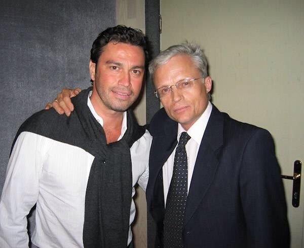 Mario Frangoulis with Ossipov Balalaika Orchestra maestro Vladimir Ponkin after their performance of Passione, a tribute to the great tenor Mario Lanza