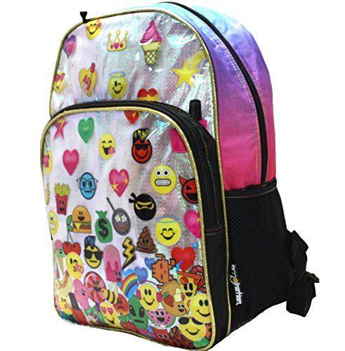nueva alta calidad bastante agradable sección especial Amazon.com: Emojination Rainbow Emoji Backpack: Sports ...
