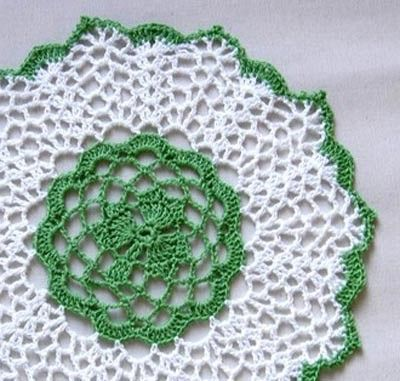 Free Crochet Shamrock Doily Pattern : Irish Shamrock Crochet Lace Doily, Clover Centerpiece, St ...
