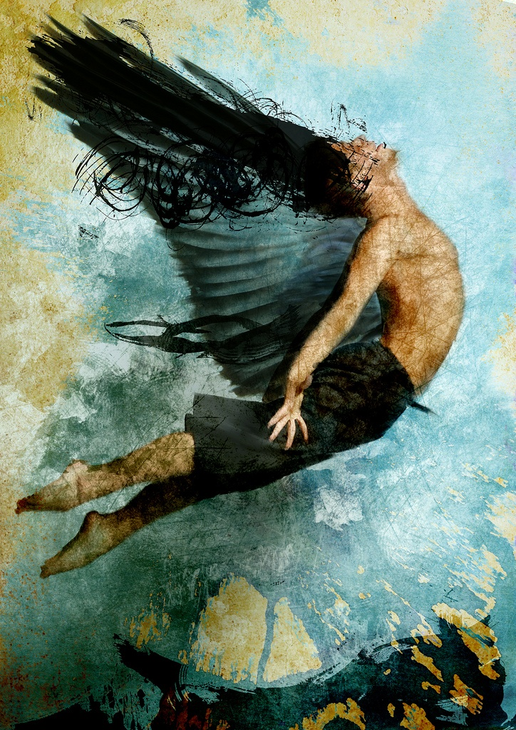 ''Flight of Icarus'' 2010  by Abner Recinos (Guatemala, 1967)  Categoría : Obra Gráfica. Técnica : Digital. Estilo : Surrealista. Tema : Mitológico