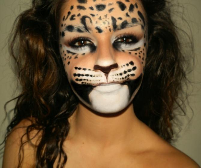 Грим на лице леопард