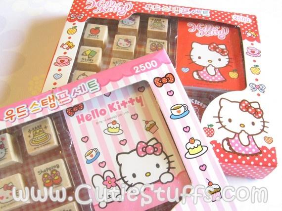 Hello Kitty Stamp Set  Pink Box by cutiestuffs on Etsy, $12.00: Stamp Sets, Kitty Stamps, Stamps Sets, Sets Pink