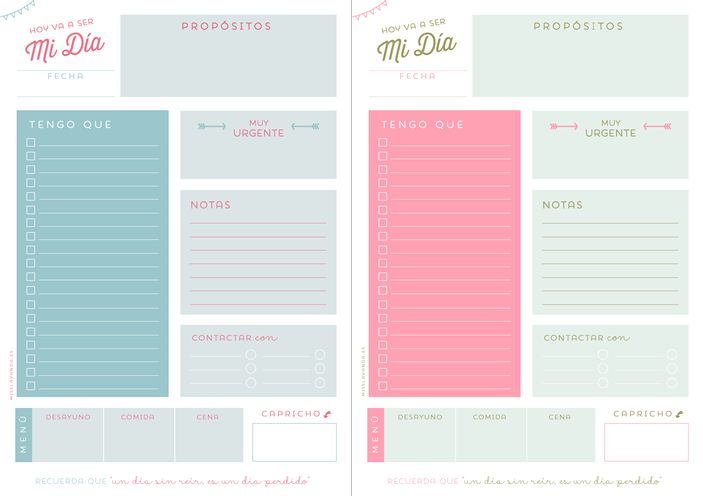 These adorable planner pages makes me wish I knew Spanish(?)! Freebies: Planificador diario para empezar el año a tope | Miss Lavanda