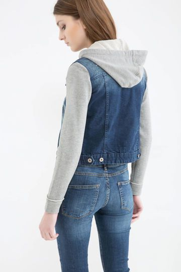 Gilet di jeans effetto used, Blu denim
