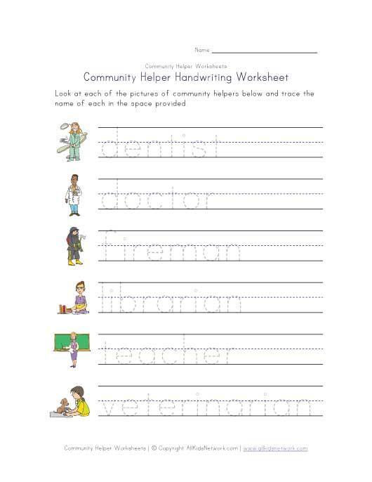 Community Helpers Handwriting Worksheet