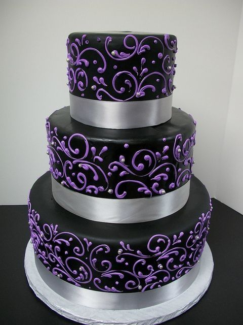 Black with Purple Scrollwork Wedding Cake by martina