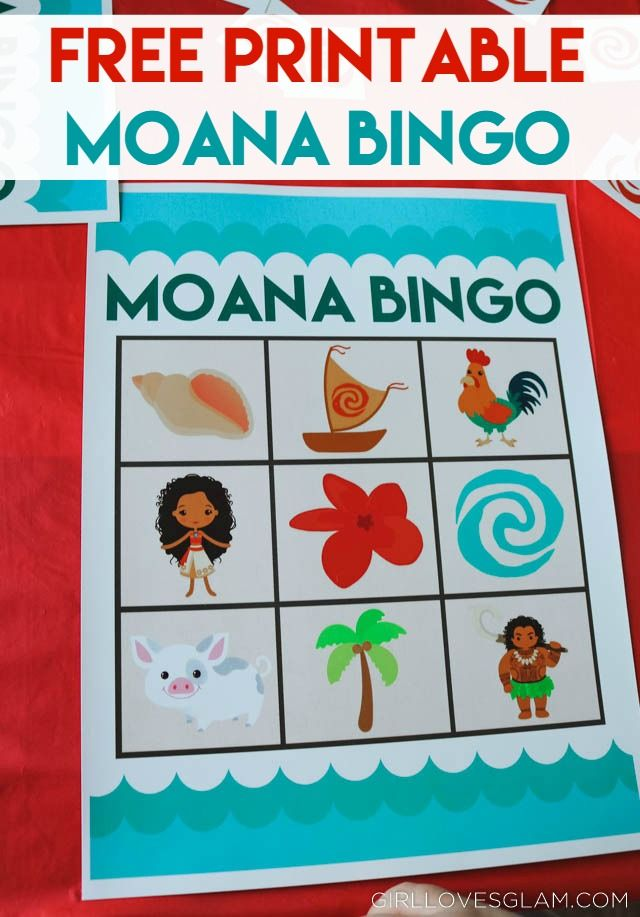 Free Printable Moana Bingo on www.girllovesglam.com