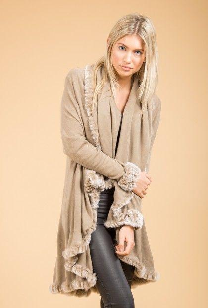 Jayley Mocha Fur Trim Cape | Fur Capes
