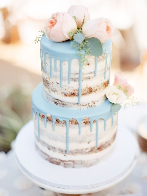 light blue and pink drip naked wedding cake / http://www.deerpearlflowers.com/amazing-wedding-cake-ideas/3/