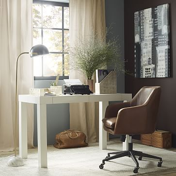Parsons Desk - White #westelm office inspiration,  exactly what I want. Charcoal walls. Brown leather chair, white desk, awesome lamp, sheek accessories, wall art, light curtains.