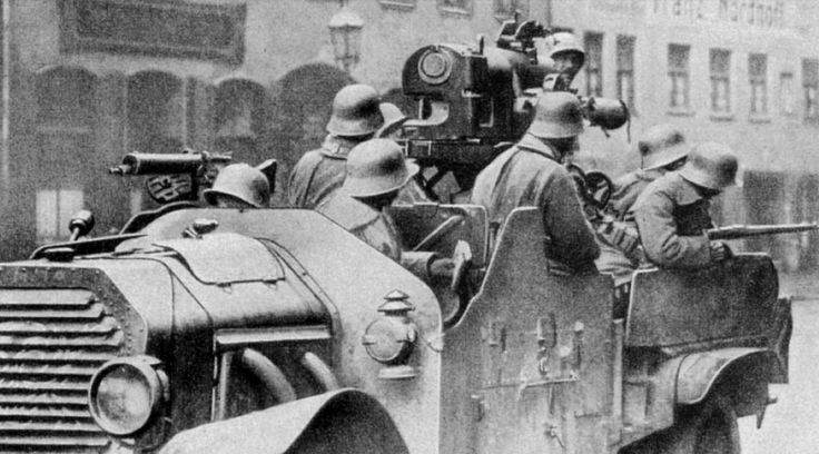 An improvised self-propelled artillery truck drives through the streets of Munich in May, 1919 as the Freikorps, supported by the left over remnants of the Army,move into the city to put down the...