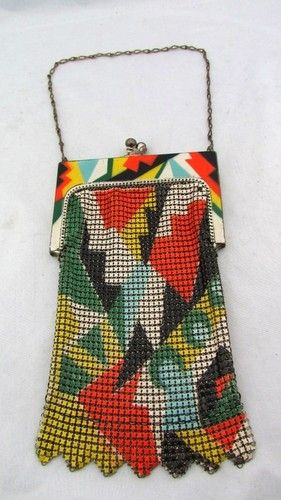 ART DECO RARE Whiting Davis MESH ENAMEL GEOMETRIC MULTI COLOR Purse