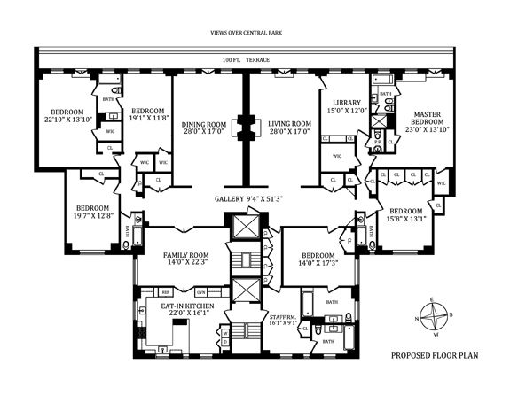 211 central park west 15e 15f co op apartment sale at for Floor plans new york city apartments