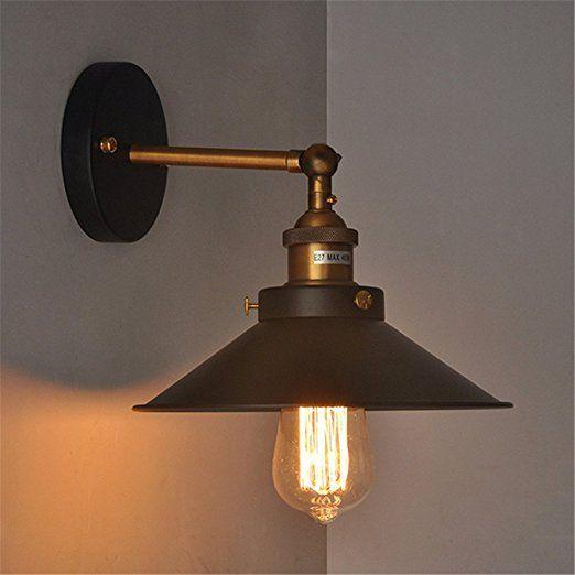 Vintage de Metal negro Industrial lámpara de pared lámpara de ajuste para E27Bombilla, 21