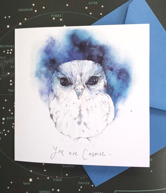 You Are Cosmic Zeus The Owl Watercolor Quote   by JasmineRebecca