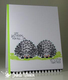 Stempel Spass did an outstanding job creating this fun card using Joy Clair's hedgehogs.
