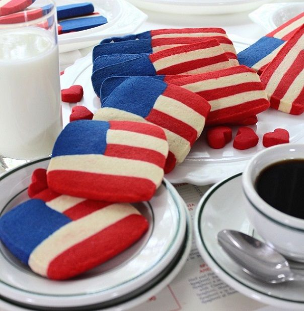 Red White and Blue Flag Shortbread Cookies