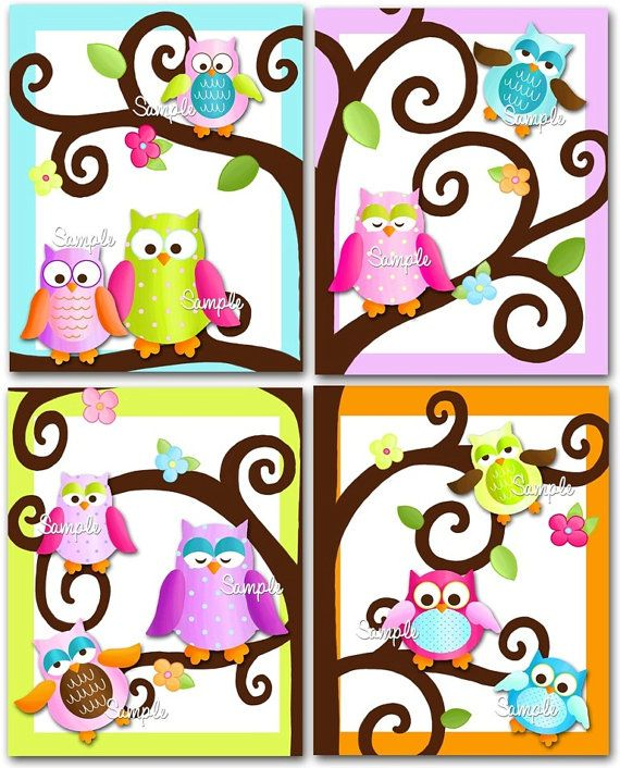 Set of 4 Fun Owl on a Limb Girls Bedroom 8x10 Art by ToadAndLily, $20.00