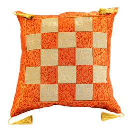 beautiful indian checkered throw pillow cover from banarsi designs features fine gold strings at each corner cool design to decorate your room - Decorate Your Bedroom Games