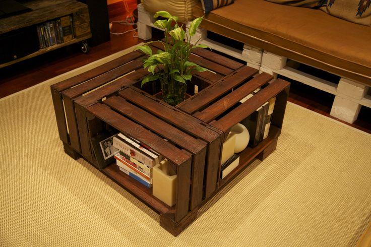 Mesa hecha con cajas de fruta recicladas table made with - Cajas de madera recicladas ...