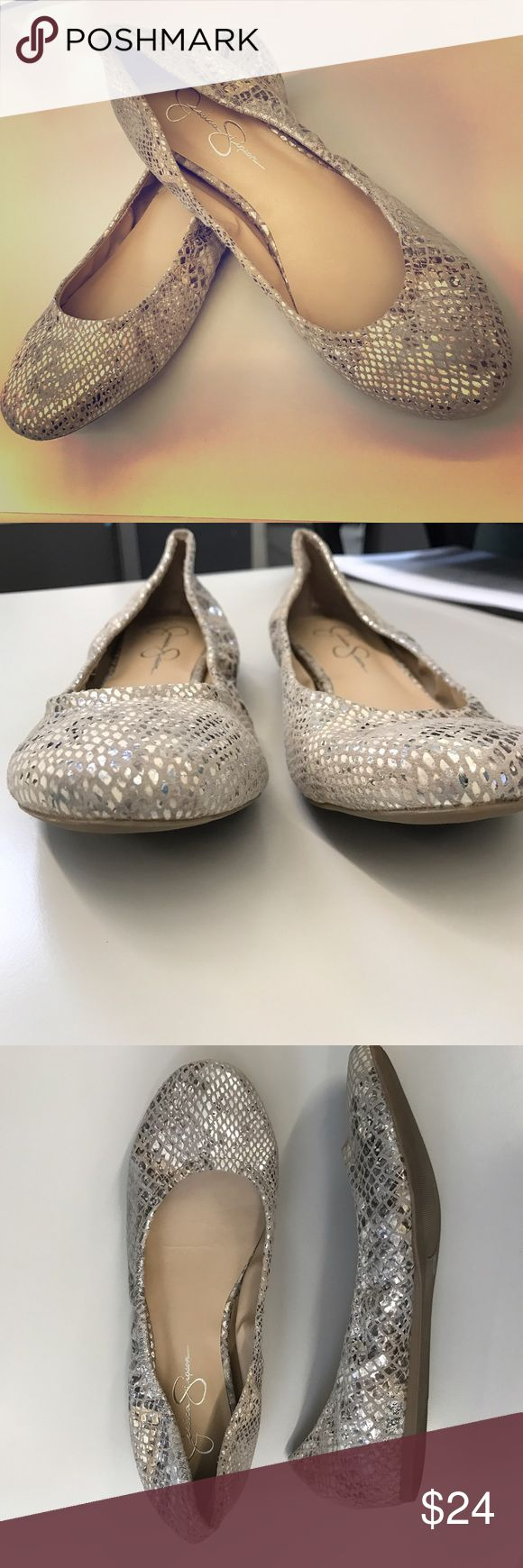 Jessica Simpson Metallic Ballet Flats Never worn / Jessica Simpson Ballet Flats / Silver Metallic Snake Skin / perfect with leggings or skinny jeans / No Trades / Offers Welcome! Jessica Simpson Shoes Flats & Loafers
