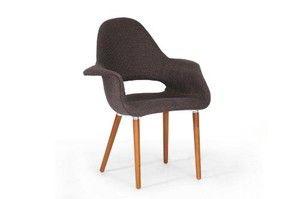 Baxton Studio Forza Fabric Mid-Century Modern Arm Chair, Dark Brown, Set of 2