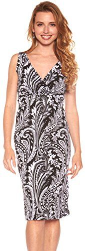 Women Vibrant Paisley Print Knee Length Dress (XL, Black-D8881). Women's knee-length dress. Simple surplice design Light and airy look. V-neck top Stretches for a comfortable fit. Smocked waistline and shoulders Approximate length: 36-39. Ideal for casual, everyday wear.