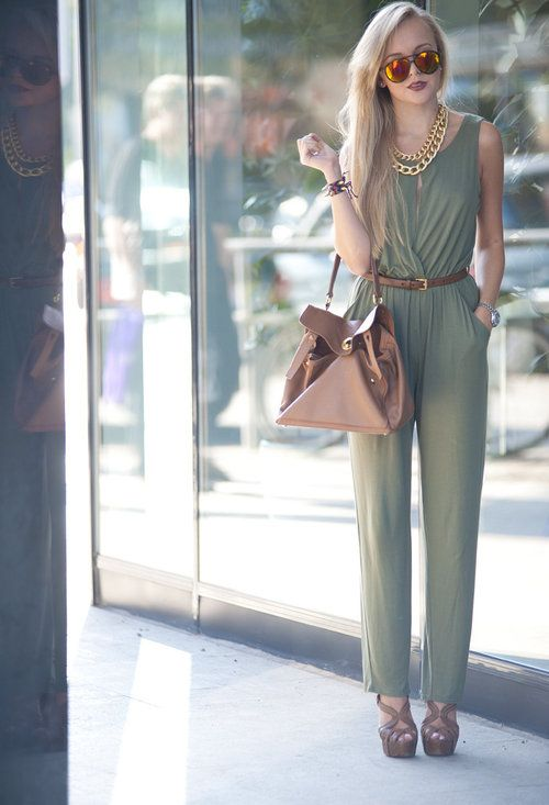 KHAKI JUMPSUIT, CHAINS AND SPIKES  , inlovewithfashion in Jumpsuits, ysl in Bags, Miu Miu in Heels / Wedges, giant vintage in Glasses / Sunglasses, Gucci in Belts, sabo skirt in Jewelry