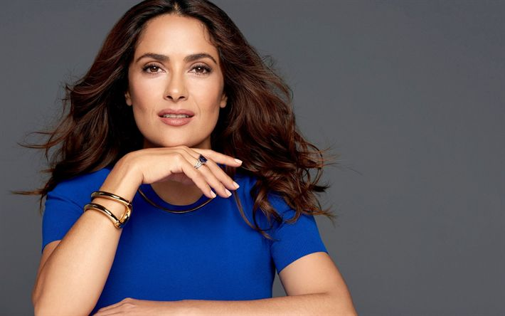 Download wallpapers Salma Hayek, American actress, photoshoot, blue dress, portrait, make-up