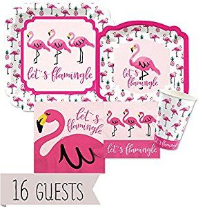 Amazon.com: Flamingo - Party Like a Pineapple - Baby Shower or Birthday Party Tableware Plates, Cups, Napkins - Bundle for 16: Toys & Games