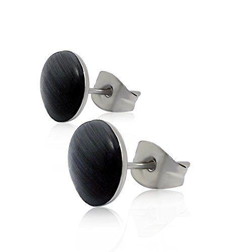 COPAUL Women's Stainless Steel Black Color Round Shape Stud Earrings,Width 8mm
